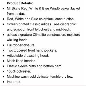 Adidas MI Skate Red, White and Blue Windbreaker NWT